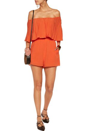 ALICE + OLIVIA Alivia off-the-shoulder crinkled-voile playsuit