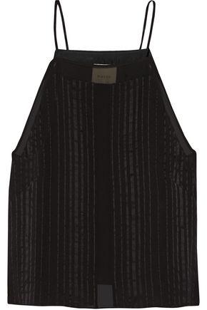 MICHELLE MASON Satin-trimmed silk-georgette top