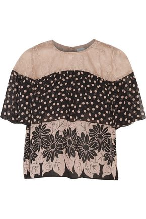 ANNA SUI Lace-paneled printed silk-chiffon top