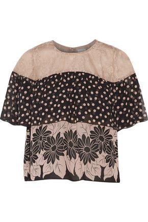 ANNA SUI Lace-paneled printed silk-chiffon top