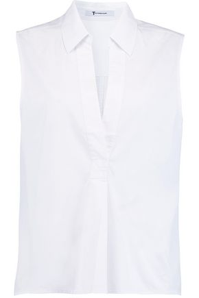 T by ALEXANDER WANG Pleated cotton-poplin shirt