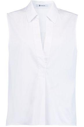 T by ALEXANDER WANG Pleated cotton-poplin shirt