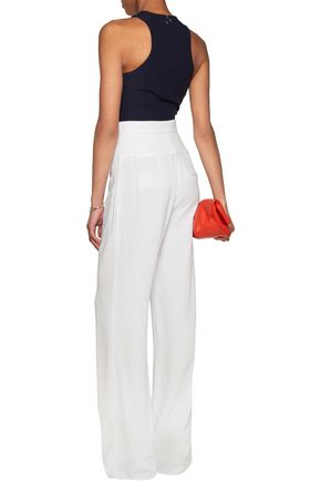T by ALEXANDER WANG Cropped racer-back stretch-crepe top
