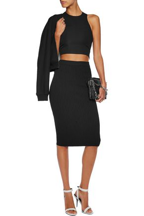 T by ALEXANDER WANG Cropped crepe top