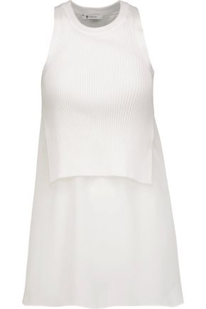 T by ALEXANDER WANG Ribbed cotton-blend and silk-georgette tank