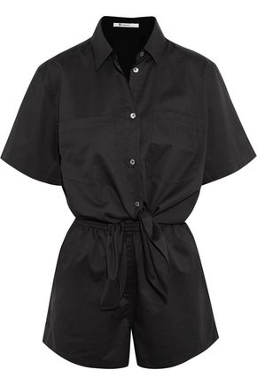 T by ALEXANDER WANG Tie-front cotton playsuit