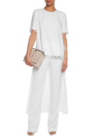 ADAM LIPPES Embellished pleated crepe top