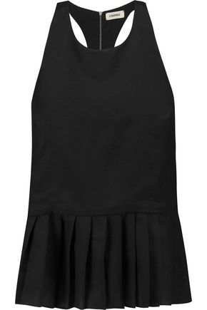 L'AGENCE Sarah pleated twill peplum top