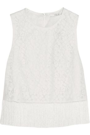 DEREK LAM 10 CROSBY Cropped fringed cotton-blend corded lace top