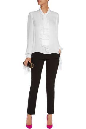 OSCAR DE LA RENTA Pussy-bow lace-paneled silk-georgette blouse