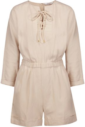 DEREK LAM 10 CROSBY Lace-up crepe playsuit