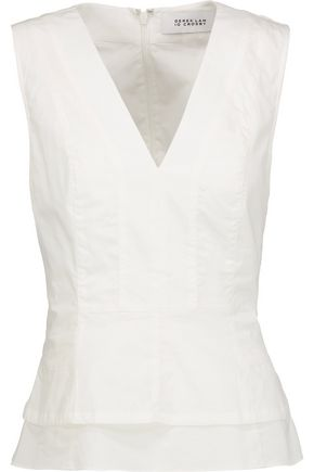 10 CROSBY DEREK LAM Layered cotton-poplin peplum top