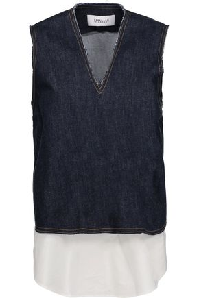 10 CROSBY DEREK LAM Layered denim and cotton top