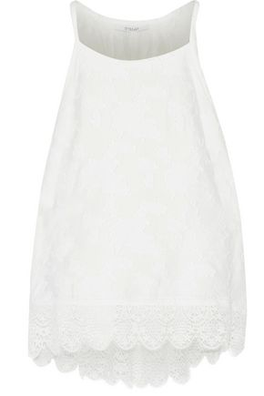 DEREK LAM 10 CROSBY Lace-trimmed embroidered crepe top