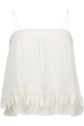 DEREK LAM 10 CROSBY Lace-trimmed georgette top