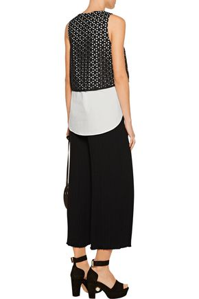 DEREK LAM 10 CROSBY Layered embroidered cotton top