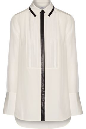 VINCE. Faux leather-trimmed silk-crepe shirt
