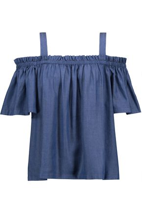 TANYA TAYLOR Laura off-the-shoulder chambray top