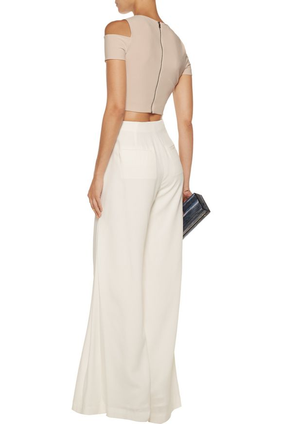 Vicki cropped cutout crepe top | ALICE + OLIVIA | Sale up to 70% off | THE  OUTNET