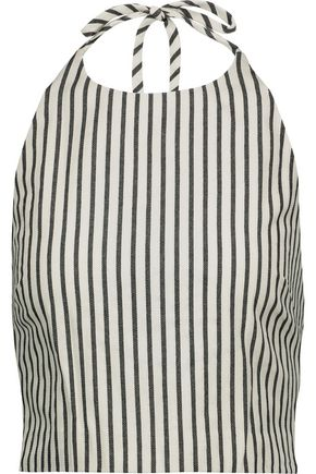 ALICE + OLIVIA Jaymee cropped striped stretch-cotton top