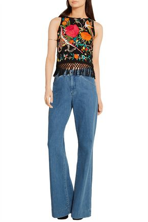 ALICE + OLIVIA Clarice macramé-trimmed embroidered georgette top