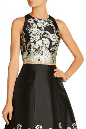 ALICE + OLIVIA Joelle cropped leather-trimmed jacquard top