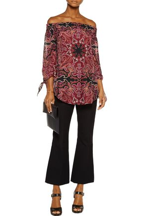 RACHEL ZOE Deanna off-the-shoulder printed silk-chiffon top