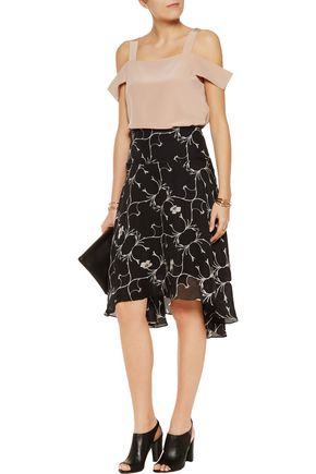 TIBI Cutout silk crepe de chine top