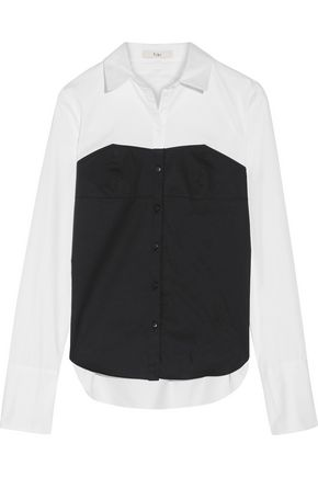 TIBI Two-tone cotton-poplin shirt