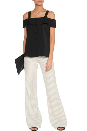 TIBI Cold-shoulder twill top