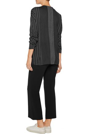 VINCE. Striped silk crepe de chine blouse