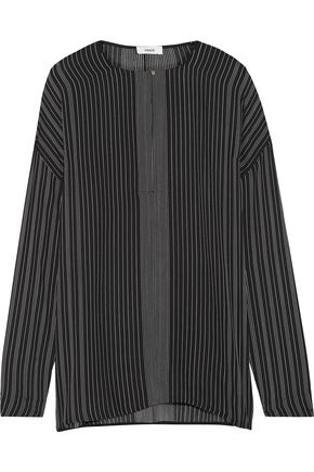 VINCE. Striped silk crepe de chine blouse