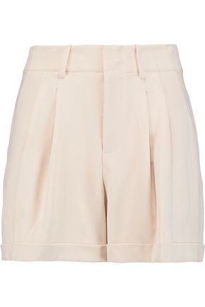 ALICE + OLIVIA Amani pleated crepe mini shorts