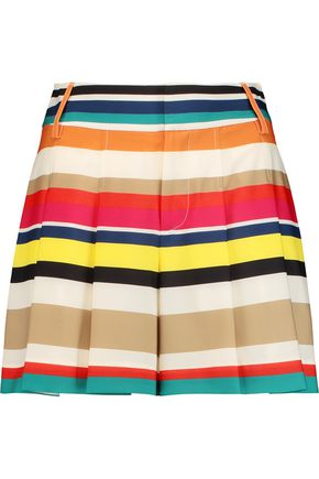ALICE + OLIVIA Scarlet striped crepe shorts