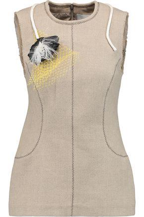 3.1 PHILLIP LIM Appliquéd stretch-linen and cotton-blend top