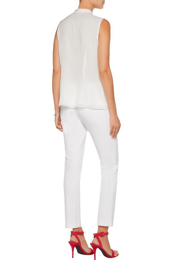 Aidan pussy-bow silk-georgette top | DIANE VON FURSTENBERG | Sale up to 70%  off | THE OUTNET