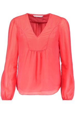 DIANE VON FURSTENBERG Maslyn cotton and silk-blend voile blouse