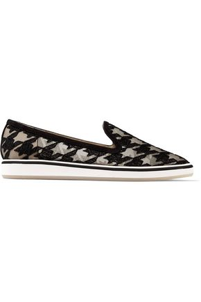 NICHOLAS KIRKWOOD Alona houndstooth-embroidered mesh and suede slip-on sneakers