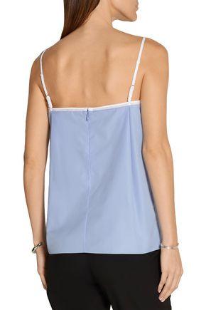NINA RICCI Cotton-poplin and mesh camisole