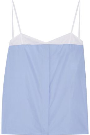 NINA RICCI Cotton-poplin and mesh camisole