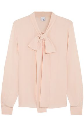 IRIS & INK Annie pussy-bow silk-georgette blouse