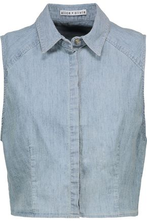 ALICE + OLIVIA JEANS Lea cropped chambray top