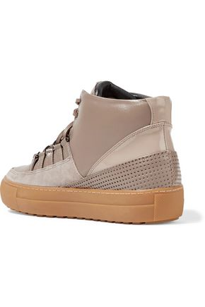 ATELJÉ 71 Gabbi paneled suede, matte and patent-leather high-top sneakers