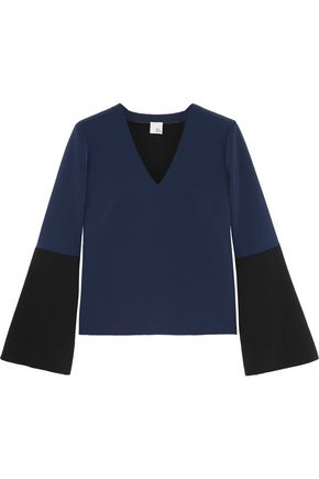 IRIS AND INK Two-tone stretch-crepe top