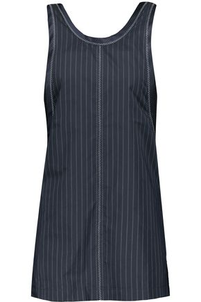 3.1 PHILLIP LIM Hoosier paneled pinstriped poplin and open-knit tank