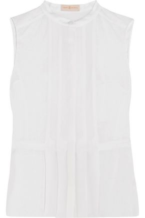 TORY BURCH Pleated silk and linen top