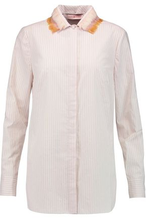 TORY BURCH Feather-trimmed striped cotton-poplin shirt
