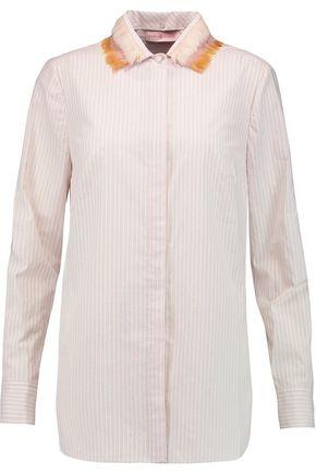 TORY BURCH Feather-trimmed striped cotton-poplin shirt