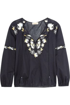TORY BURCH Embroidered cotton-poplin top
