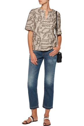 TORY BURCH Paulina lamé-trimmed embroidered cotton-blend top